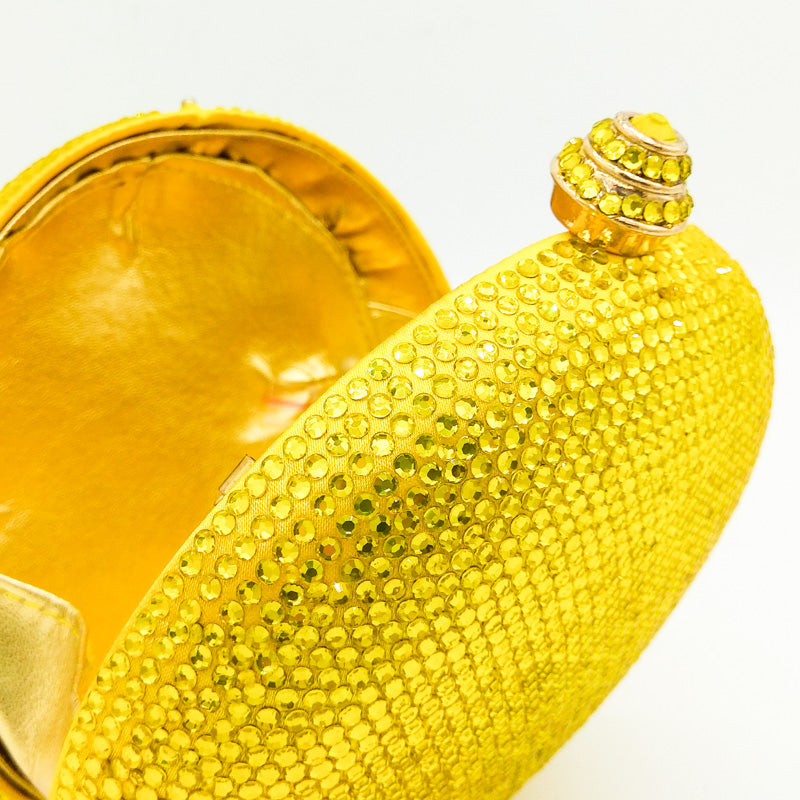 Round Circular Women Yellow Crystal Clutch Evening Bag Mini Metal