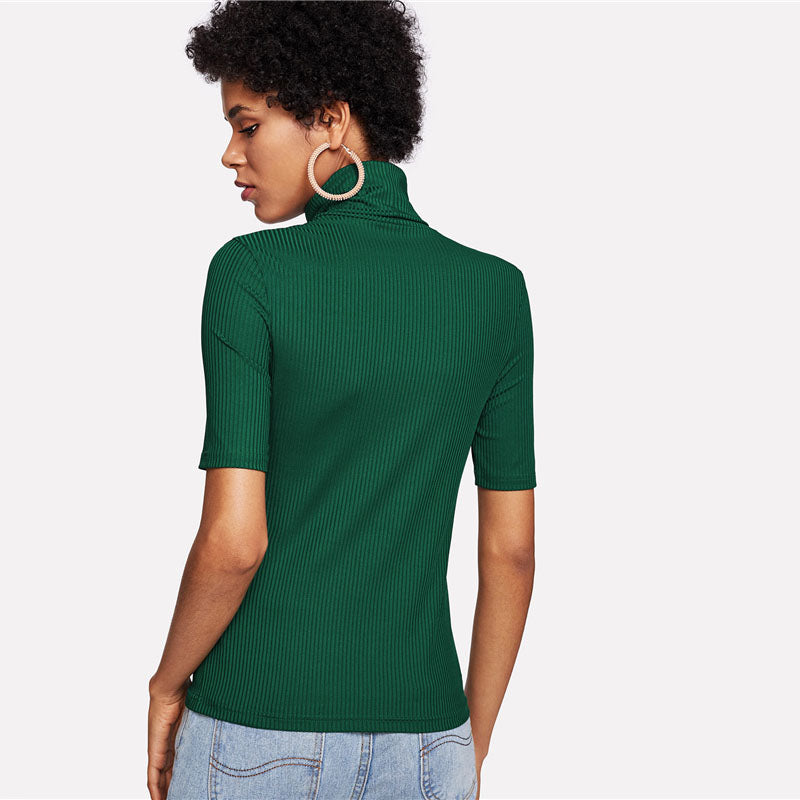 Green High Neck Rib Knit Blouse
