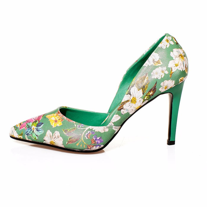 Green Genuine Leather Pointed Toe Shoes Flower Printed Pumps