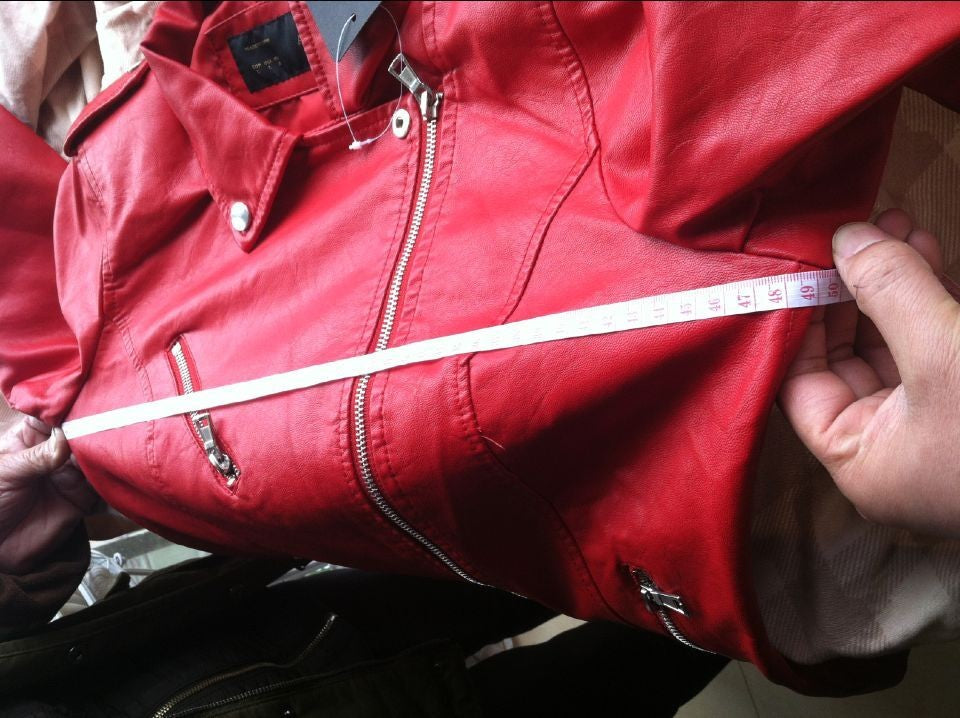 Red Leather Jacket Turn-down Collar Short Slim