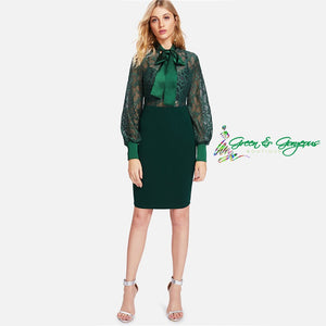 Green Lace Fitted Bodice Dress