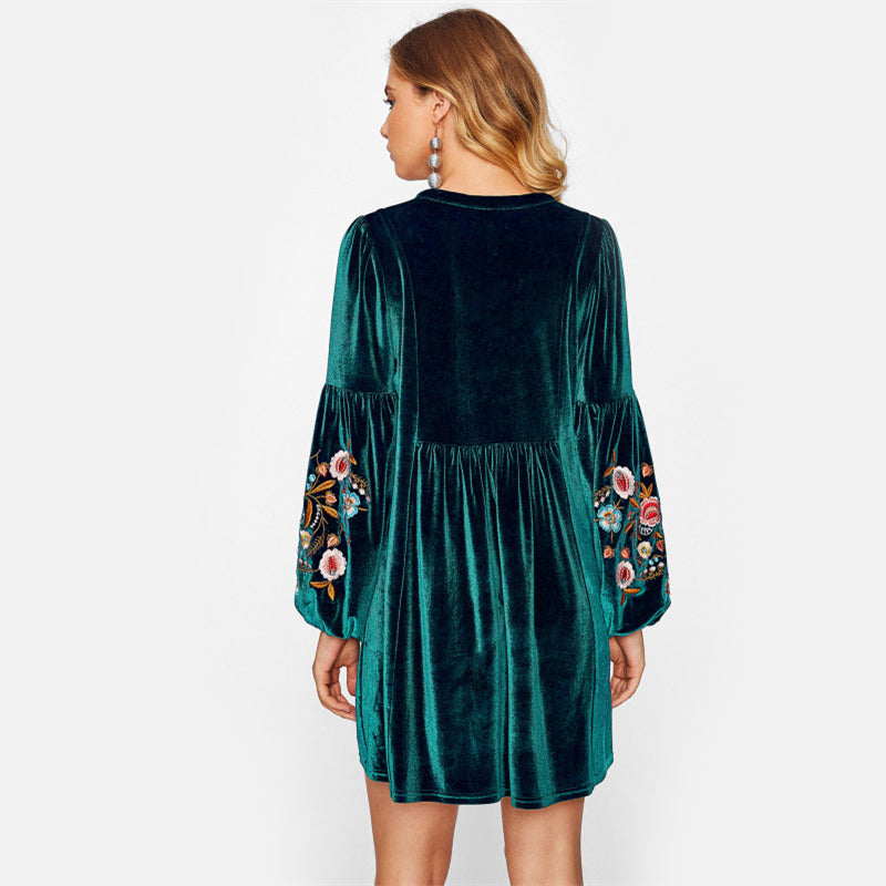 Green Embroidered Velvet High Waist Dress