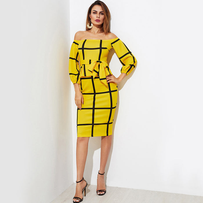 Yellow Off-the-Shoulder Waist Tie Dress