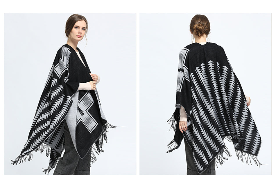 Black Shawl-Scarf Luxury Brand Soft Plaid Wraps Wool Cashmere Capes