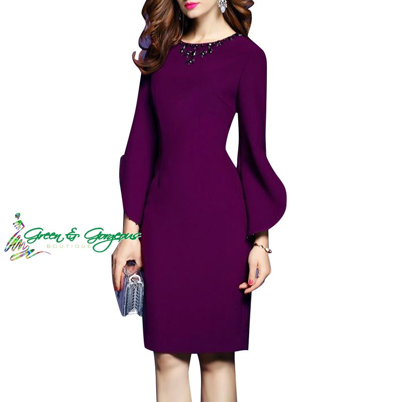 Purple Flare Sleeve Dress