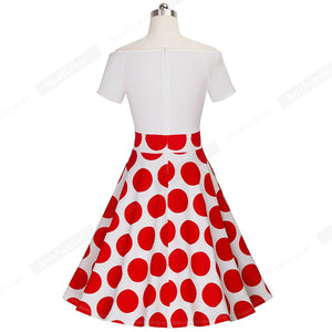 Red Dots Vintage Off shoulder Slash Neck Casual Chic
