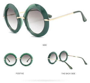 Green Oversize Vintage Round Sunglasses - $38.50
