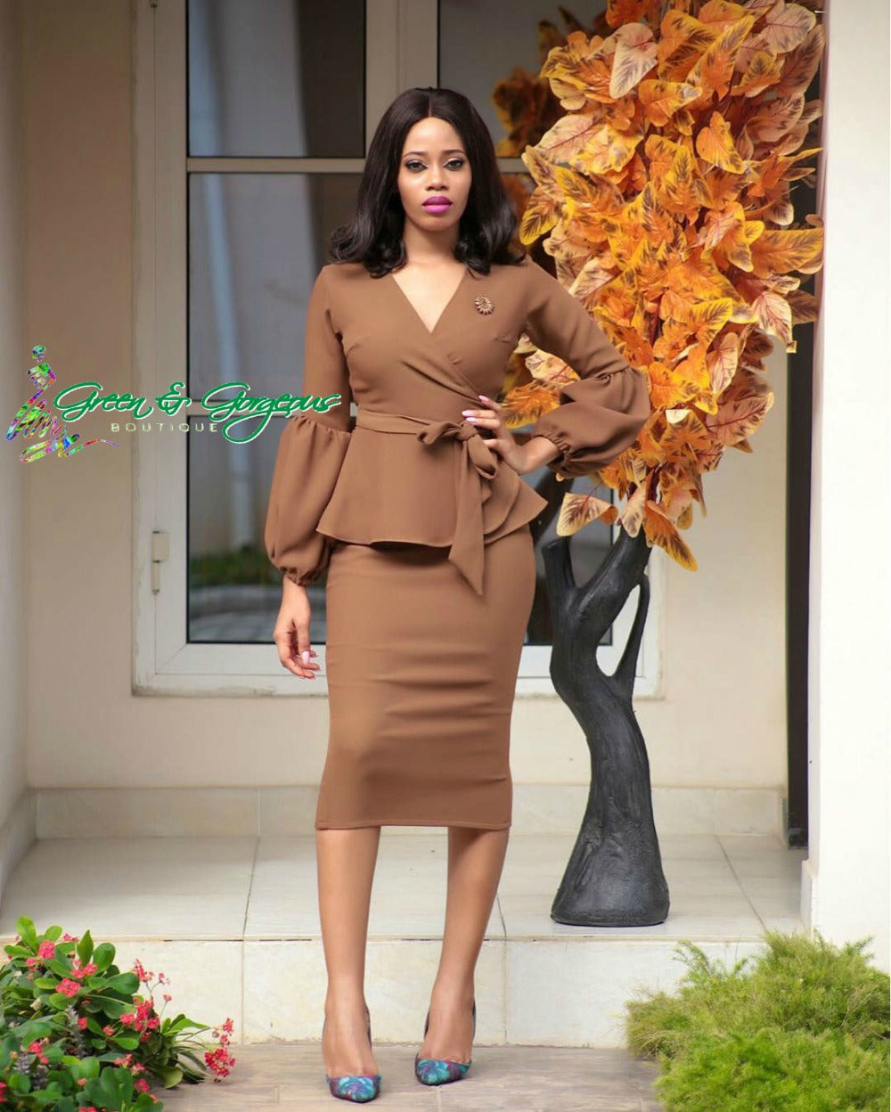 Brown Lantern Sleeve Bandage Dress