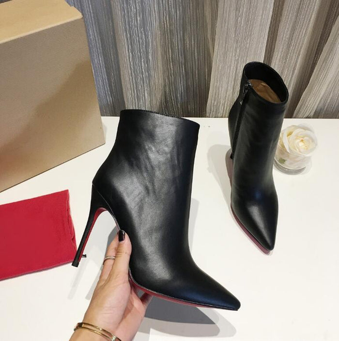 """The Blackness"" Black Leather Red Bottom Mid-Calf Bootie"