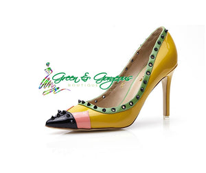High Heels Pointed Toe Ladies Yellow Shoes Novelty