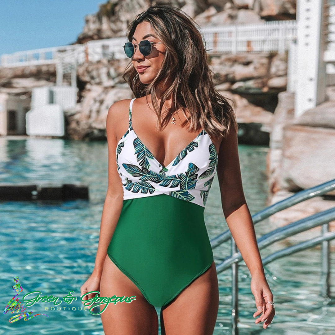 Tropical Green Leaf Print Swimsuit - $29.95