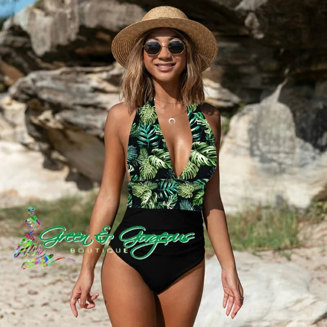 Tropical Green Leaf Print Highwaist Swimsuit - $29.50