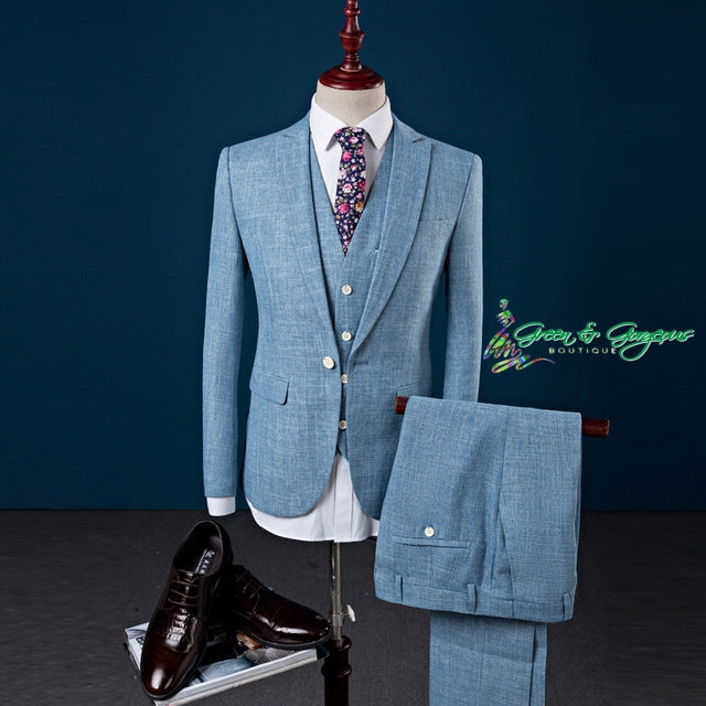 Blue Slim Fit Men's Suit (JACKET+PANTS+VEST)