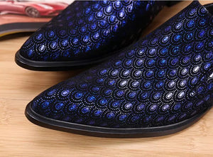 Luxury Blue Men's Genuine Leather Low Cut Shoes | Loafers- $169.00