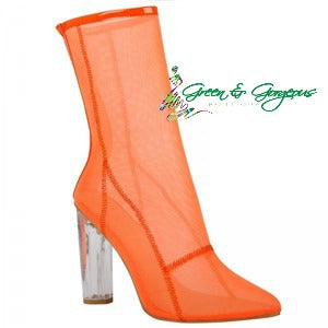 Orange Ankle Mesh Boots Pointed Toe Transparent Breathable Booties
