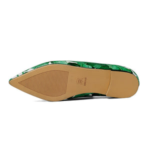 Green Leaf Print Slip-On Shoes