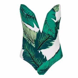 Green V-Neck Floral Leaves Swimsuit