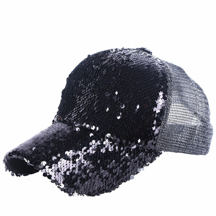 GIFTS: Sparkle Sequin Baseball Caps (Black)