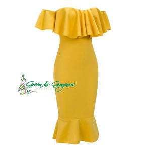 Yellow Off the Shoulder Fitted Dress