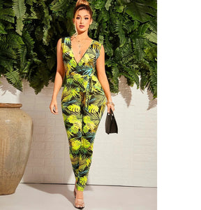 Tropical Dreams - Black, Green, & Yellow One Piece Jumpsuit - $48.50