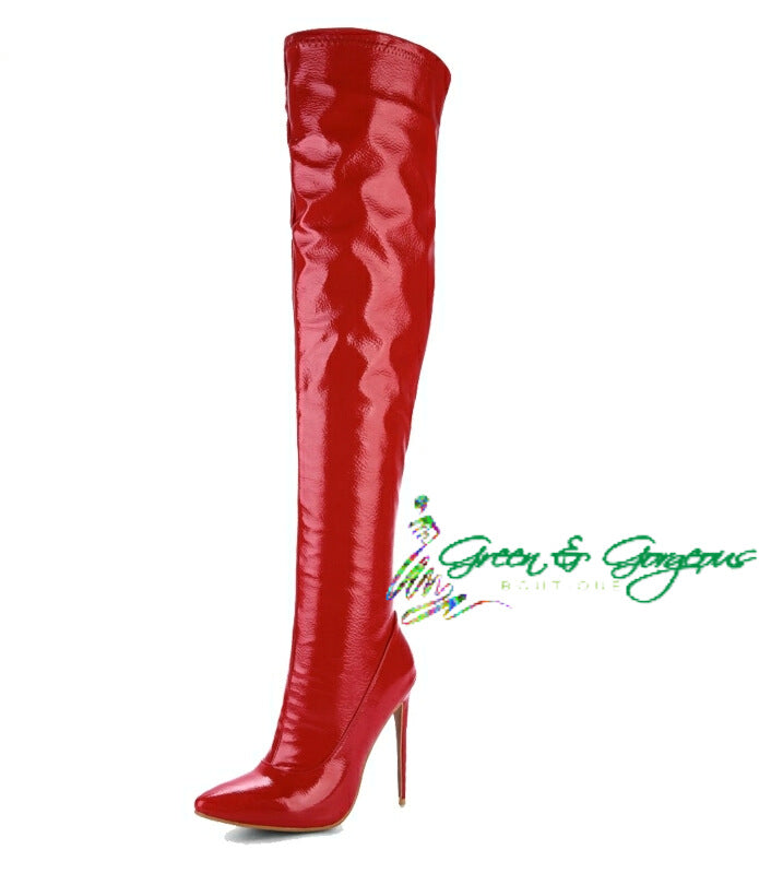 Red Women Over-the-Knee Pointed Toe Thin Heels Boots