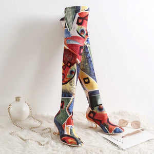 Abstract Dream - Red Multi Color Over-the-Knee Boots - $125.00
