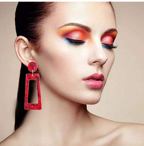 New Jewelry Collection | Red Square Art-Resin Earrings (BOGO SALE! Buy 1 Get 50% Off 2nd Pair)