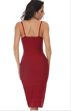 Red Spaghetti Strap Bodycon Bandage Dress