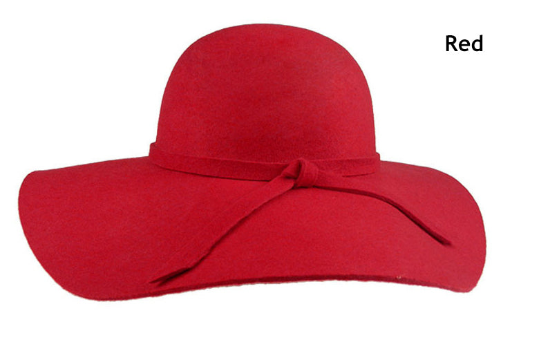 Red Fashion Floppy Hats Vintage Woolen Felt Hat - Autumn 2017