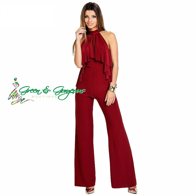 Red High Neck Jumpsuit With Ruffle Front Detail Rompers