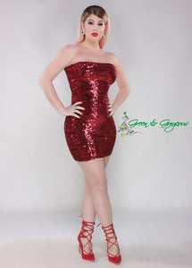 Red Strapless Fitted Tube Sequins Evening Cocktail Dress