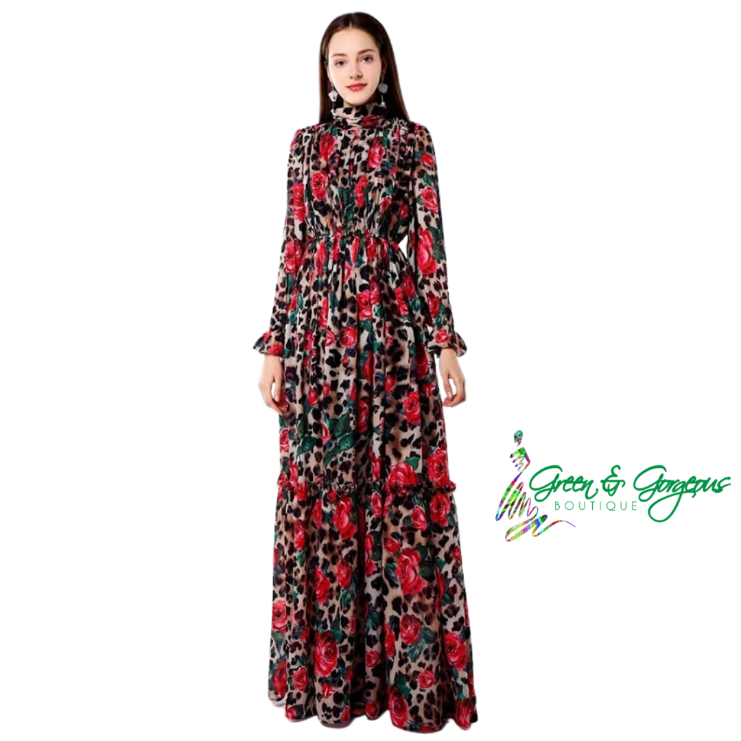 ROSES ARE RED COLLECTION | Signature Leopard & Red Roses Long Dress