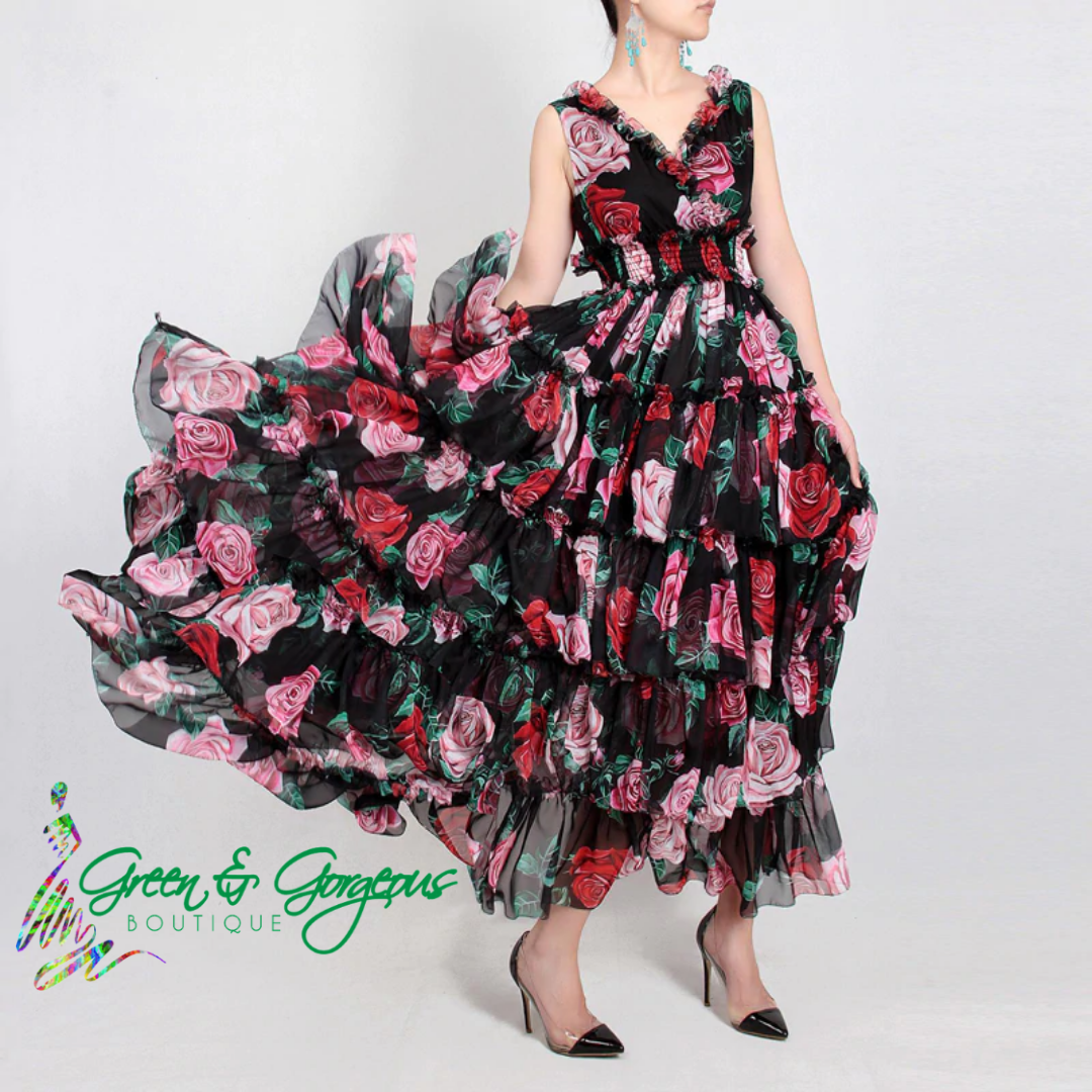 ROSES ARE RED COLLECTION | Signature Black Pink & Red Roses Long Dress