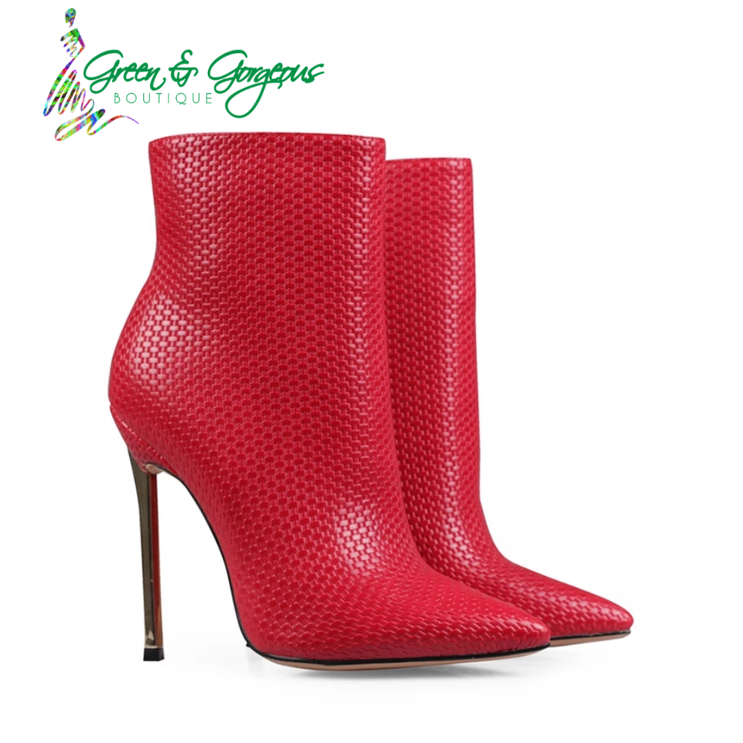 "ROSES ARE RED COLLECTION | ""QUEENDOM"" Signature Leather Mid-Calf Booties"