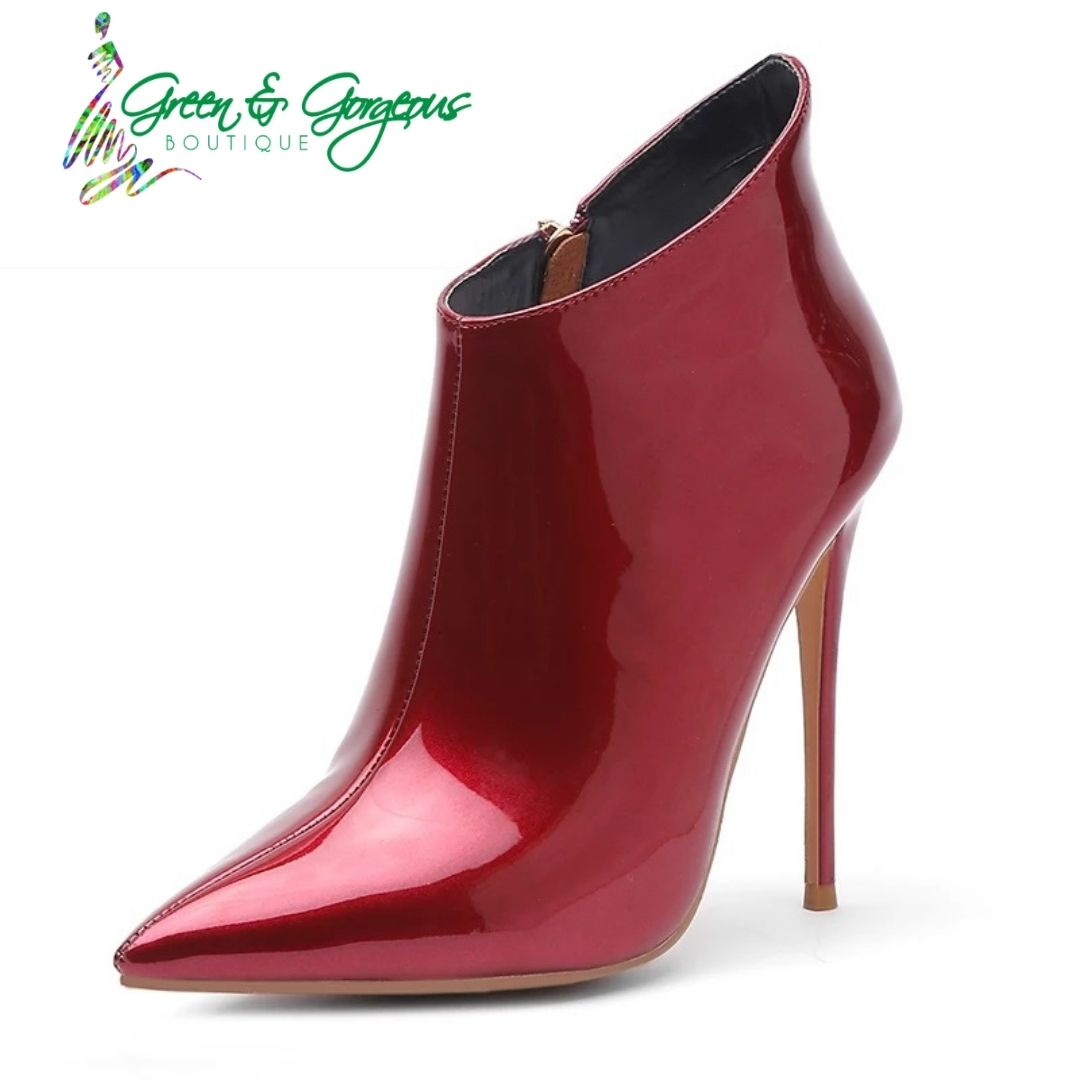 "ROSES ARE RED COLLECTION | ""RUBY"" Metallic Ankle Booties"