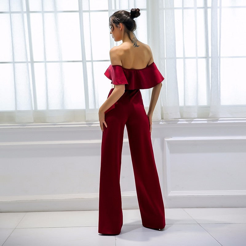 Red Off The Shoulder V-Neck Jumpsuit