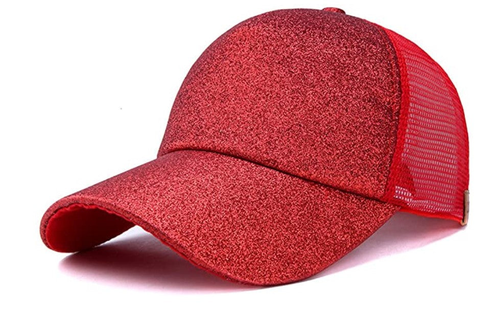 GIFTS: Sparkle Glitter Baseball Caps (Red)