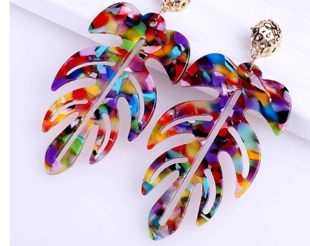 New Jewelry Collection | Resin Colorful Rainbow Leaf  Earrings