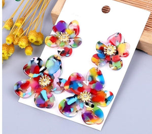 New Jewelry Collection | Rainbow Flower Art-Resin Earrings (BOGO SALE! Buy 1 Get 50% Off 2nd Pair)