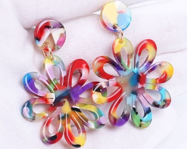 Rainbow Flower Resin Earrings