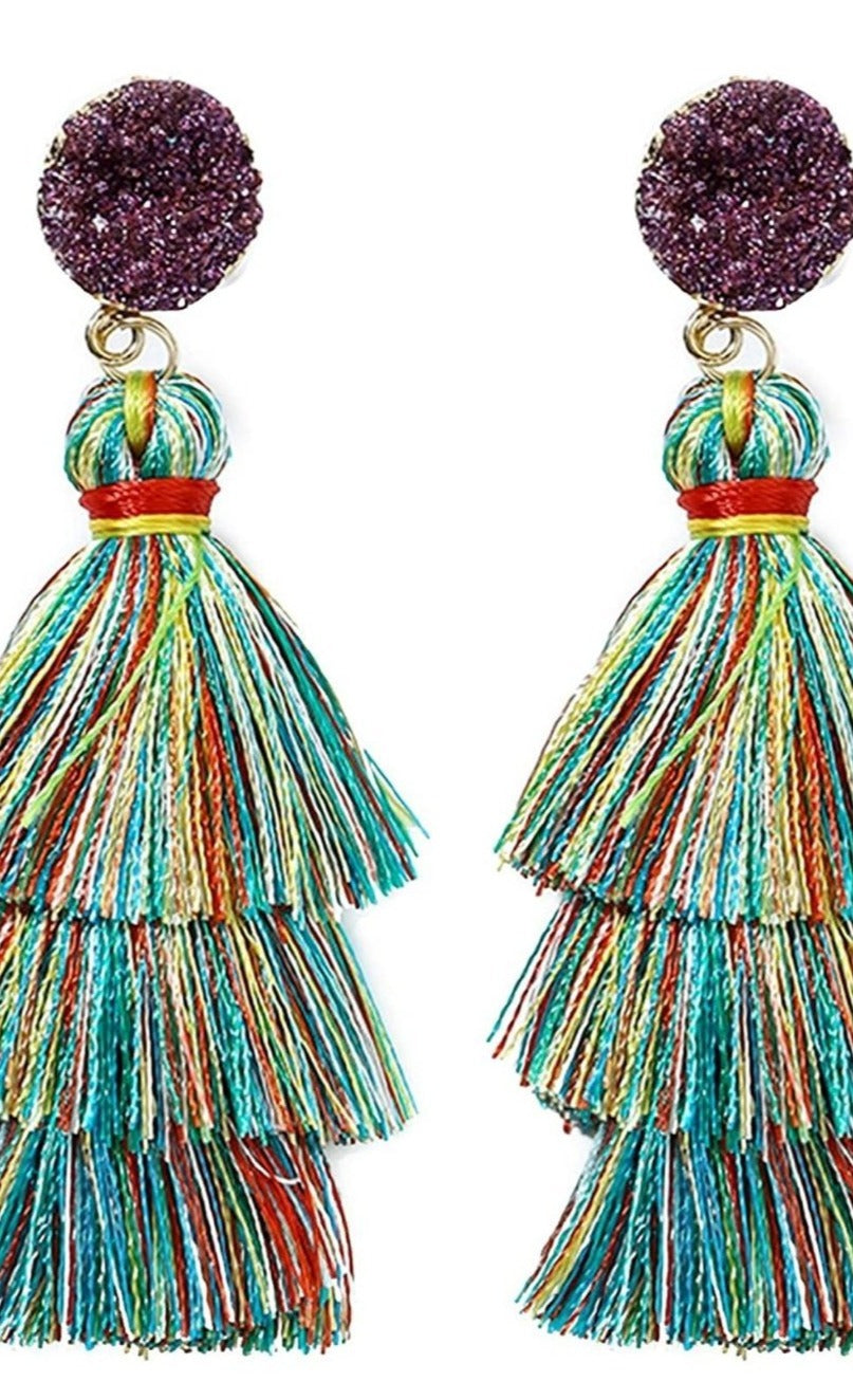 Multi Color Tassel Earrings 3