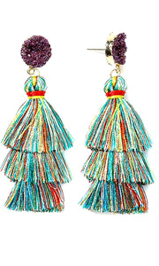 Multi Color Tassel Earrings 1