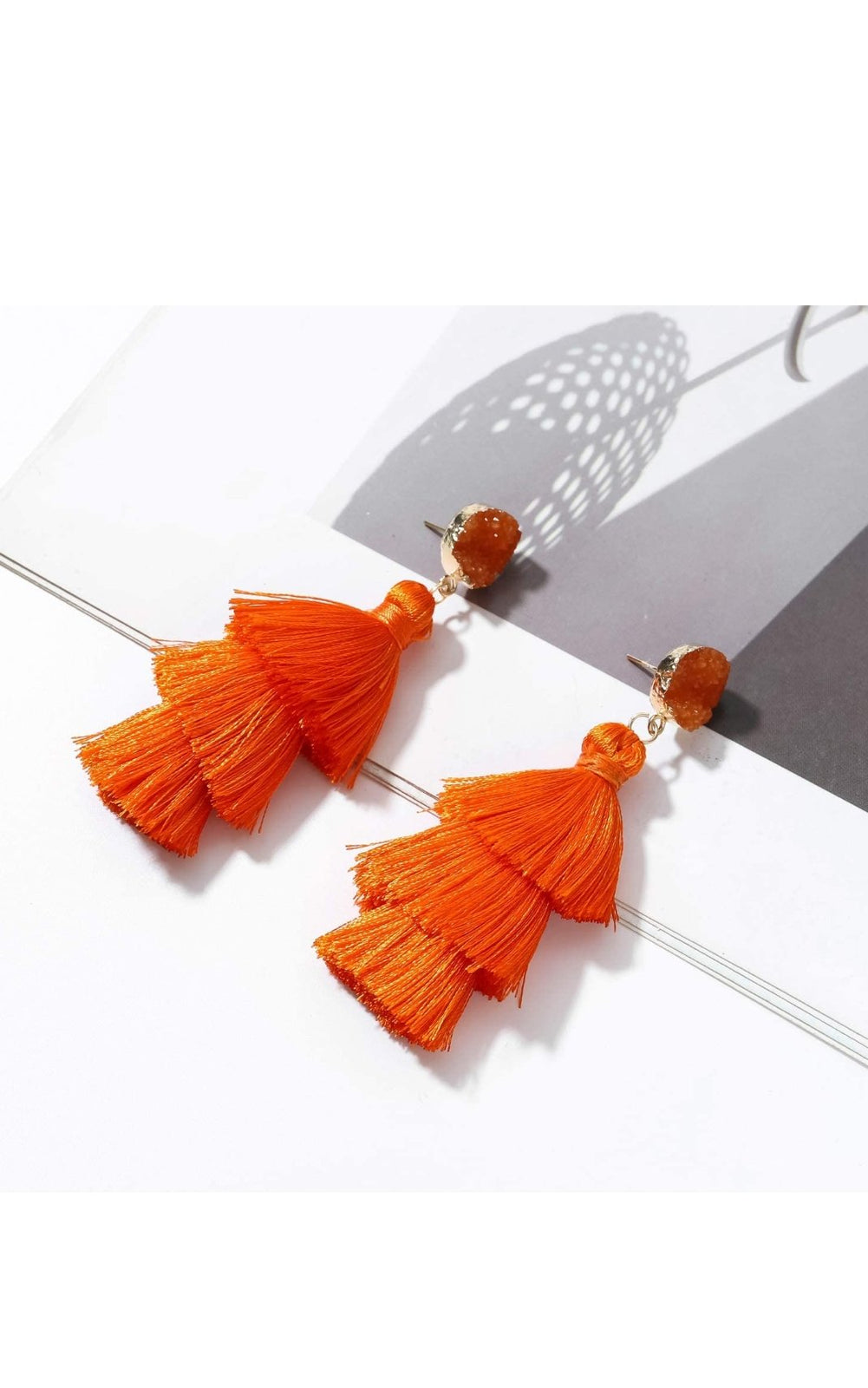 New Jewelry Collection  | Orange Tassel Fringe Fan Earrings
