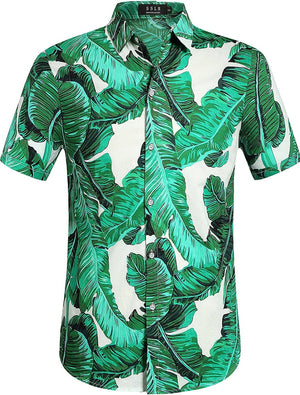 Open image in slideshow, Men's Signature Tropical Palm Leaves Button-up Shirt