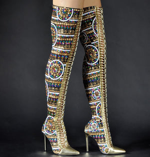 Friday Bright Night - Sequined Black Cloth Over-the-Knee Boots - $285.00
