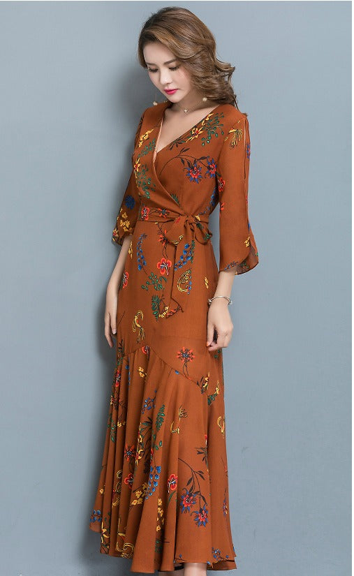 Brown Vintage Floral Dress