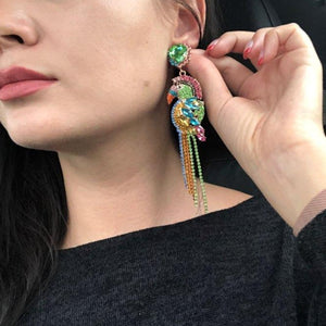 Rhinestone Amazon Parrot Earrings Media 2