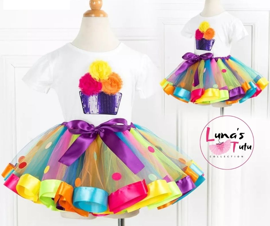 Luna's TuTu Collection | Cupcake-N-Dots Ribbon TuTu Set
