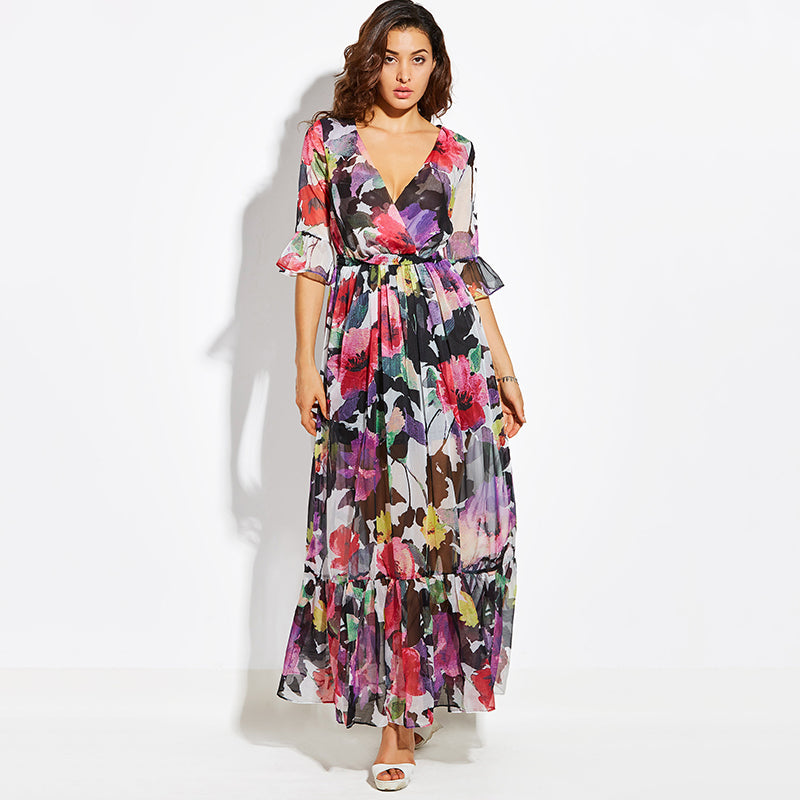 Purple Floral Print Maxi Dress