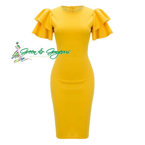 Yellow Butterfly Short Sleeve Party Dress